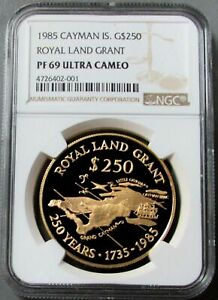 Click now to see the BUY IT NOW Price! 1985 GOLD CAYMAN IS. 250 MINTED  1.4 OZS  NGC PROOF 69 UC $250 ROYAL LAND GRANT