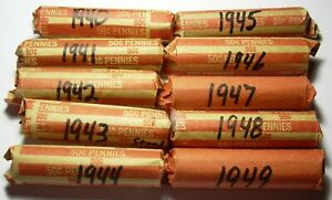 10 SOLID DATE ROLL WHEAT CENTS 1940 1941 1942 1943 1944 1945 1946 1947 1948 1949