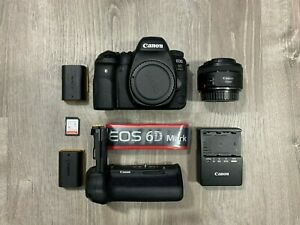 CANON EOS 6D MARK II DSLR CAMERA BUNDLE   BARELY USED WITH BOX