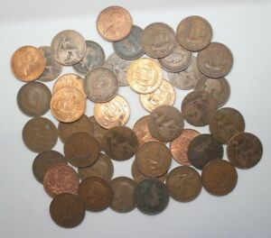 50 X HALF PENNY COINS. OLD ENGLISH PRE DECIMAL COINS    CHEAP & CHEERFUL   2.65