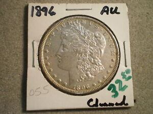 1896 MORGAN SILVER DOLLAR/ TONING CLEANED    RAW UNCERTIFIED
