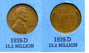 LINCOLN HEAD WHEAT CENT 1939 D AVERAGE CIRCULATED UNITED STATES 1 PENNY COIN B4
