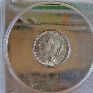 1865 THREE CENT NICKEL PCGS MS63 FREE RETURNS OGH PRICE REDUCED