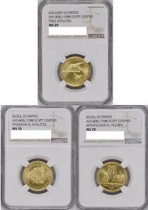 Click now to see the BUY IT NOW Price! EGYPT  GOLD 3 X 50  POUNDS SUMMER & WINTER OLYMPICS 1988 NGC MS 70 & 69