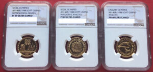 Click now to see the BUY IT NOW Price! EGYPT  GOLD 3 X50  POUNDS SUMMER & WINTER OLYMPICS 1988 NGC PF 68 & 69 UC