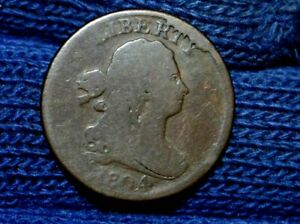 1804 HALF CENT  CROSSLET 4  WITH STEMS  OBV CUD  NICE BROWN  G/VG
