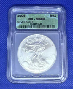 2004 ICG $1 ONE DOLLAR UNITED STATES SILVER EAGLE CERTIFIED MS69 COIN