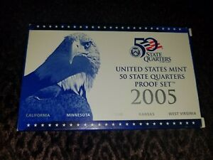 2005  UNITED STATES MINT 50 STATE QUARTERS PROOF SET WITH CERTIFICATE OF AUTH