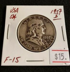 USA 1957 D FRANKLIN HALF DOLLAR NICE HIGH GRADE SILVER COIN  K09