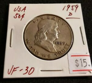USA 1959 D FRANKLIN HALF DOLLAR NICE HIGH GRADE SILVER COIN  K10