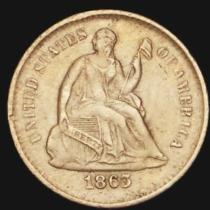 1865 S LIBERTY SEATED HALF DIME   STUNNING KEY DATE H10C