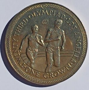 ISLE OF MAN 1984 UNCIRCULATED CROWN COIN 23RD OLYMPIAD LOS ANGELES TRACK