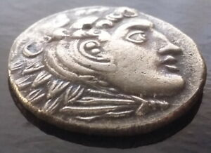 GREEK SILVER PLATED  COIN ANCIENT ATHENS ALEXANDER III THE GREAT GREEK COIN