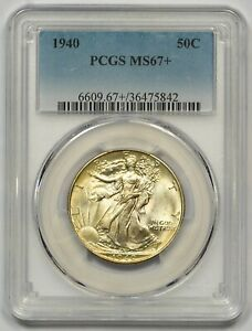 Click now to see the BUY IT NOW Price! 1940 PCGS MS 67  WALKING LIBERTY HALF  WELL STRUCK  NICE GOLDEN TONING  SUPERB
