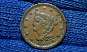 1857 HALF CENT   XF CHOICE BROWN  TAKE 5  OFF RIGHT NOW