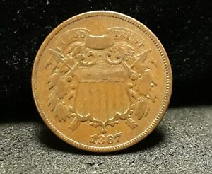 1867 TWO CENTS   FINE   LAMINATION IN DATE       ENN COINS