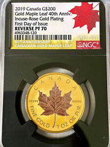 Click now to see the BUY IT NOW Price! 2019 CANADA $200 ROSE GOLD MAPLE LEAF 40TH ANNIVERSARY NGC REVERSE PF70