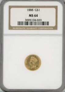 1888 INDIAN PRINCESS GOLD $1 MS 64   NGC