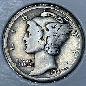 1921 D SILVER MERCURY DIME IN HIGHER GOOD TO FINE CONDITION   DDO?
