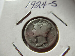 1924 S MERCURY DIME COIN WITH