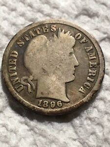 1896 SILVER BARBER DIME SEE DETAIL