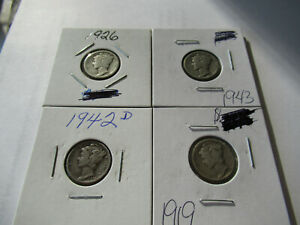 1919 1926 1942 D & 1943 MERCURY DIME COINS WITH