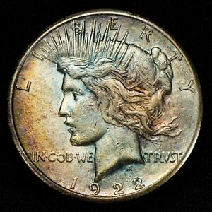 1922 S $1 SILVER PEACE DOLLAR NEAT RAINBOW COLOR TONING LOTV679