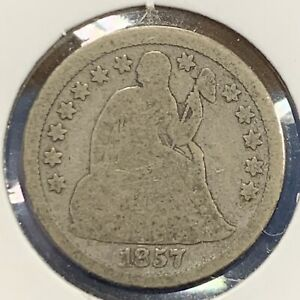 1857  SILVER SEATED LIBERTY DIME