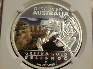 2012 P 1 OZ. $1 AUSTRALIA COLORIZED PROOF GREEN & GOLD BELL FROG NGC PF70 UC