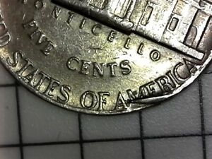 1974 D JEFFERSON NICKEL  COLLAR DIE CLASH RIM ERROR COIN REVERSE