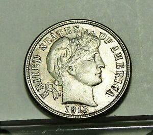 1911 P BARBER DIME NOT CLEANED BU WITH ORIGINAL LUSTER.
