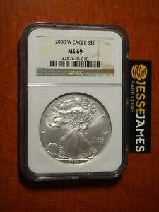 2008 W BURNISHED SILVER EAGLE NGC MS69 CLASSIC BROWN LABEL