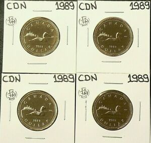 1989 CANADA $1 DOLLAR LOT OF 4 UNC FROM MINT SETS 5342