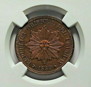 Click now to see the BUY IT NOW Price! 1869 H URUGUAY REPUBLIC BRONZE 2 CENTESIMOS NGC PROOF 63