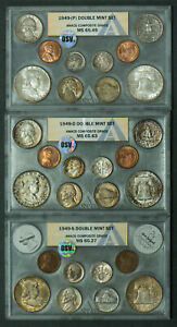 Click now to see the BUY IT NOW Price! 1949 PDS US DOUBLE MINT SET  ANACS OSV COMPOSITE GRADE  KEY DATE  ORIGINAL TONE