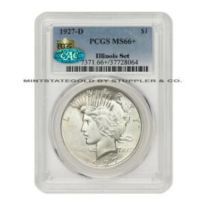 Click now to see the BUY IT NOW Price! 1927 D $1 SILVER PEACE DOLLAR PCGS MS66  CAC CERTIFIED ILLINOIS SET ULTRA