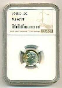 1948 D ROOSEVELT DIME MS67 FT NGC COLOR