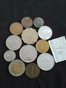 WORLD MIXED COIN LOT  ASIA USA EURO HONG KONG FROM EARTH THE FLAT ONE