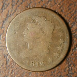 1812 CLASSIC HEAD LARGE CENT S 288 LARGE DATE OFF CENTER STRIKE