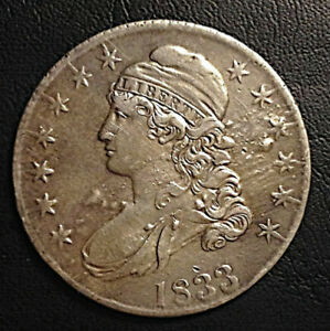 1833 ERROR RAISED AREAS NOT PITS OR SCRATCHED 87J6 $264.00 CAPPED BUST HALF