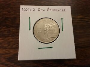2000 D NEW HAMPSHIRE STATE QUARTER UNCIRCULATED FROM BANK ROLL IN 2X2 HOLDER