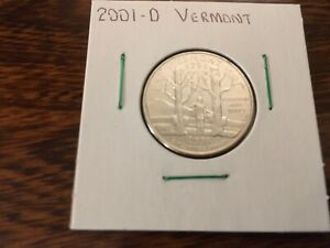 2001 D VERMONT STATE QUARTER UNCIRCULATED FROM BANK ROLL IN 2X2 HOLDER