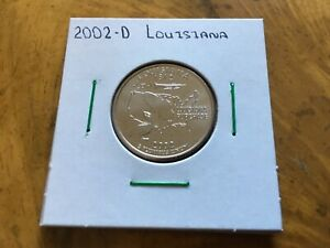 2002 D LOUISIANA STATE QUARTER UNCIRCULATED FROM BANK ROLL IN 2X2 HOLDER