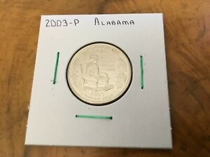 2003 P ALABAMA STATE QUARTER UNCIRCULATED FROM BANK ROLL IN 2X2 HOLDER