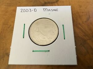 2003 D MAINE STATE QUARTER UNCIRCULATED FROM BANK ROLL IN 2X2 HOLDER