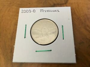 2003 D MISSOURI STATE QUARTER UNCIRCULATED FROM BANK ROLL IN 2X2 HOLDER