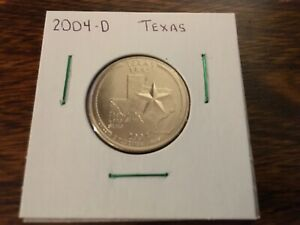 2004 D TEXAS STATE QUARTER UNCIRCULATED FROM BANK ROLL IN 2X2 HOLDER