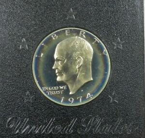 1974 S TONED SILVER PROOF EISENHOWER IKE DOLLAR GEM CAMEO IN CASE