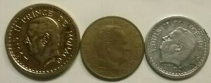 FOREIGN COIN LOT. MONACO 3 DIFFERENT. ABT.