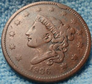 1836 CORONET HEAD LARGE CENT OBVERSE CUD FINE DETAIL